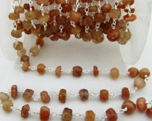 Sale Faceted Sunstone Rosary Bead Chain, Beautiful Wire Wrapped Sunstone Beads Handmade Chains sold Per FOOT in spools