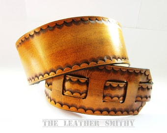 Tan Leather Guitar Strap with Hand Tooled Edge, Handmade Guitar Straps