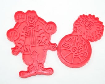 Set of 2 Vintage McDonald's Cookie Cutters 1987 - Red