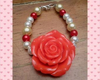 Large red rose centered bracelet