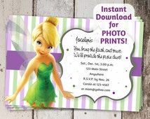 Tinkerbell | Fairies Birthday Party Invitation - Instant file download - Can use to order photo prints! (printable on card stock, too!)
