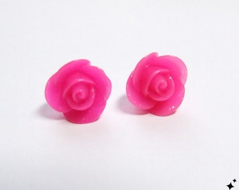 Hot Pink Rose Studs Earrings - small hot pink roses flower earrings