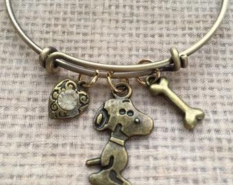 Snoopy bracelet-Antique bronze bracelet with heart, snoopy and bone