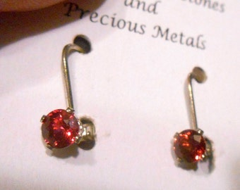 Round Red Spinel Leverback Earrings in Sterling Silver