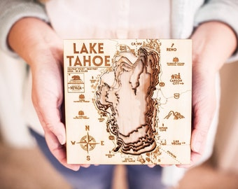 Lake Tahoe - 3D Wood Map