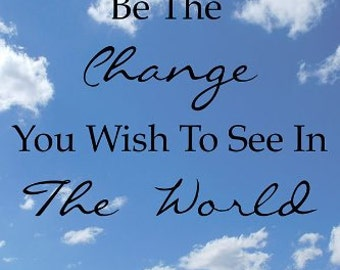 """Gandhi Quote -""""Be The Change"""" - Motivational - Wall Quotes Canvas Banner"""
