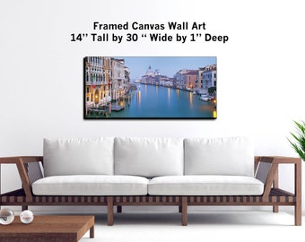 "Venice, Italy - Wall Art - 30x14x1"" - Framed Canvas Print Gallery Wrapped Canvas Art -"