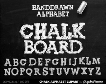 ALPHABET Chalkboard Clipart  Digital Chalk Alphabet Clip Art Hand Drawn Chalk Letters Chalkboard Background Digital chalk letters