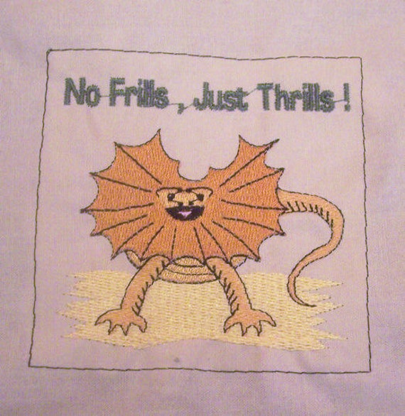 No Frills Just Thrills 4 x 4 embroidery design by DunnonTimeEmbroidery
