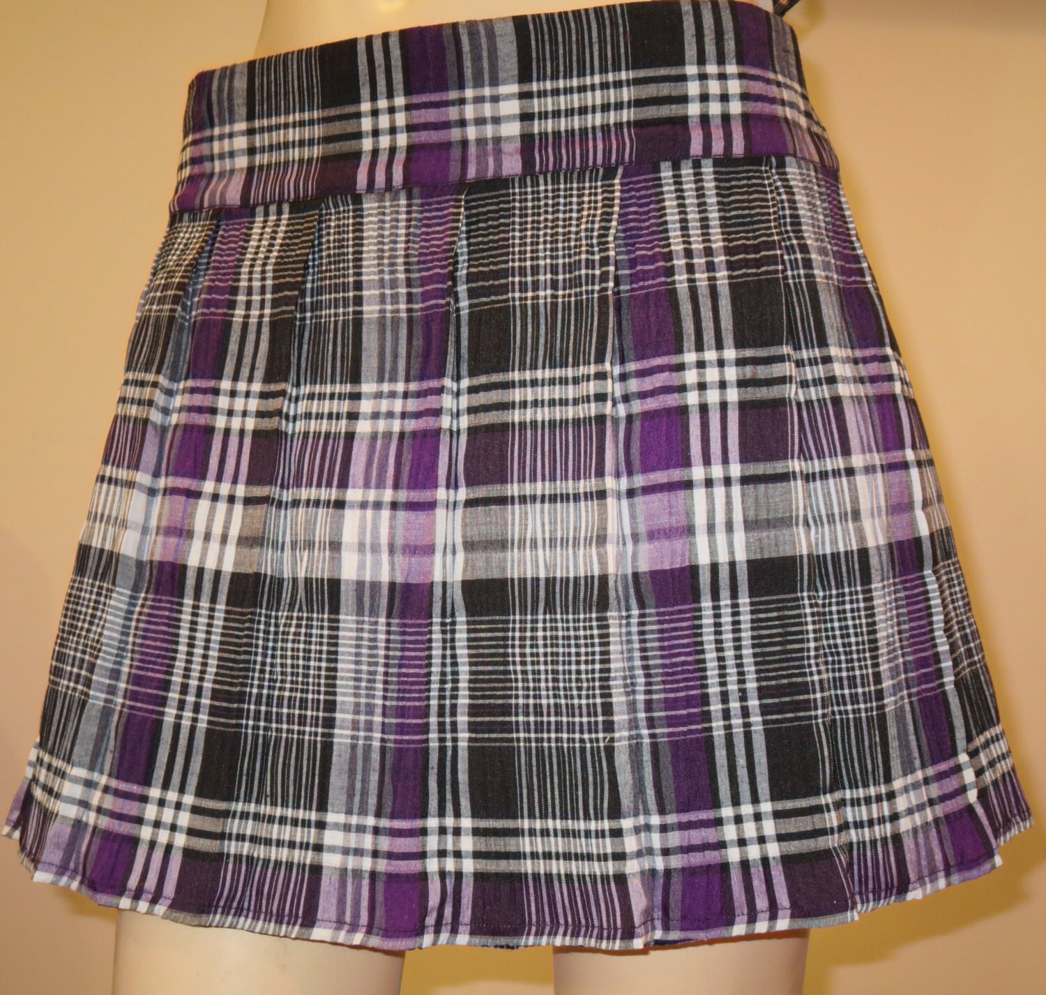 purple plaid pleated skirtsmall to 6x sizes by sohoskirts