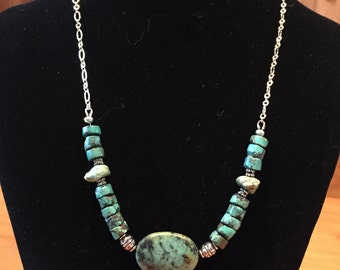 Turquoise and chain necklace with matching earrings