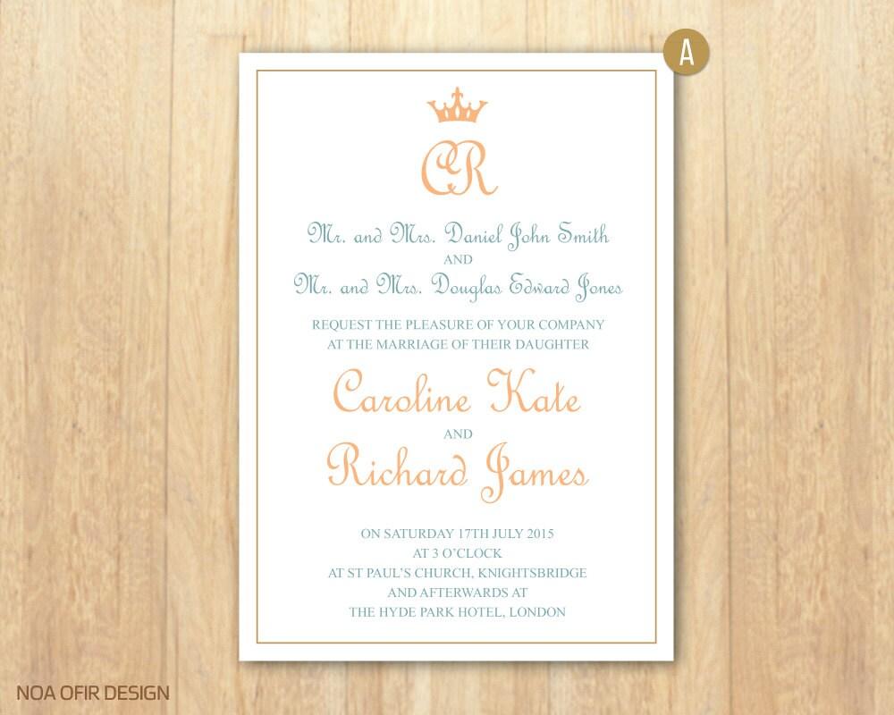 Royal Wedding Invitation, Crown Wedding Invitation, Printable ...