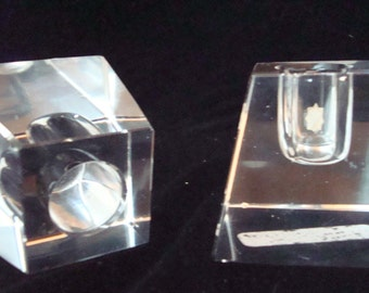 Vintage geometric crystal candle holders