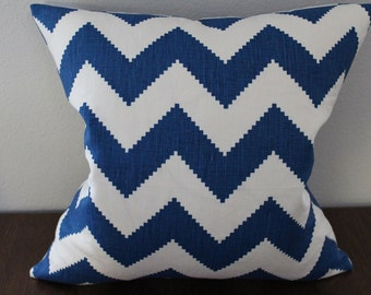 White Blue Chevron Pillow Cover, Throw Pillow Case, Decorative Pillow Cover