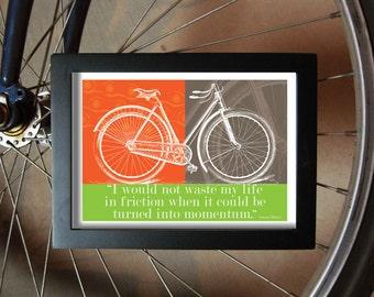 """Ladies Bicycle Print, 5"""" x 7"""", Lime Green and Deep Orange, Vintage Bicycle Art"""