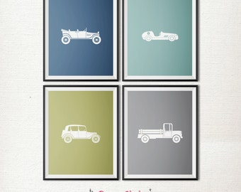 Vintage Automobile POSTER PACKAGE / Boys Room Decor / Cars and Truck / Blue and Green / 8x10 Posters – Printable DIY, Instant Download