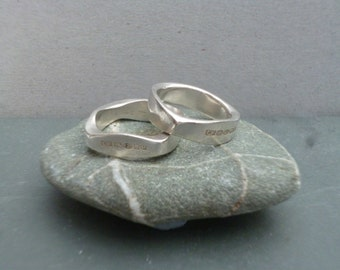 Handmade sterling silver forged rings - square and triangular - size N
