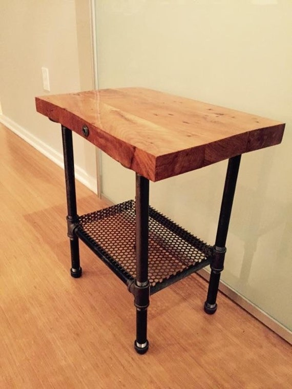 Rustic industrial wood end table or night stand or sink base for Rustic pipe table
