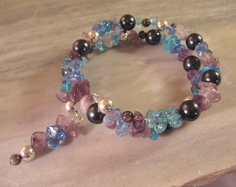 Blue Gemstone Bracelet, Blue Memory Wire Bracelet, Orion's Belt Bracelet