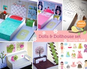 Printable Paper Dollhouse and Doll / Portable toys / Learning Toys / Girl toys / Paper House / Instant download