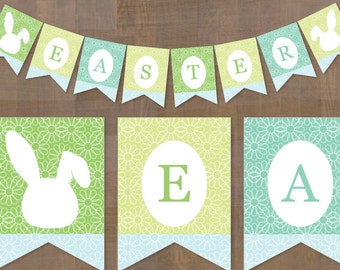 Easter banner printable / Easter decorations / bunny / blue / green / instant downloads