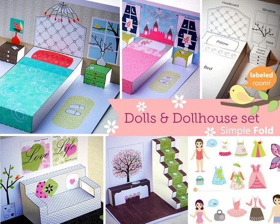 Printable Paper Dollhouse and Doll / Portable toys / Learning