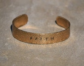 """Hand Stamped """"Faith"""" Hammered Brass Cuff Bracelet - Christian Cuff Bracelet - Religious Cuff Bracelet - Brass + Free Shipping"""