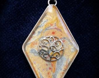 Diamond shaped bezel Resin Pendant