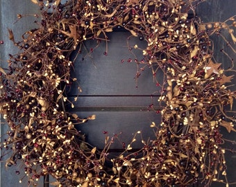 Country Pip Berry Wreath with Rusty Stars, Primitive Wreath, Rustic Wreath, Patriotic Wreath, Primitive Decor, Country Decor, Free Shipping