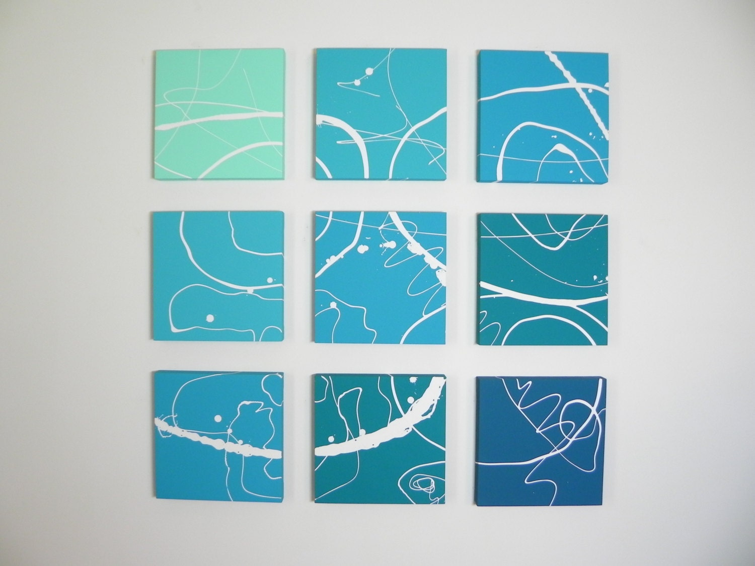 Teal Green Wall Decor : Blue wall art teal abstract modern painting