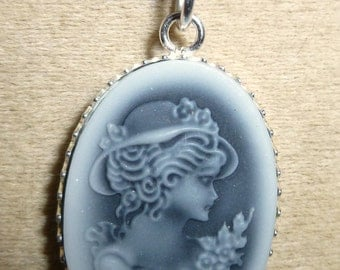 beautiful Silver Pendant 925 girl with Hat