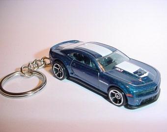 3D Chevrolet Camaro ZL1 custom keychain keyring key chain finished in blue