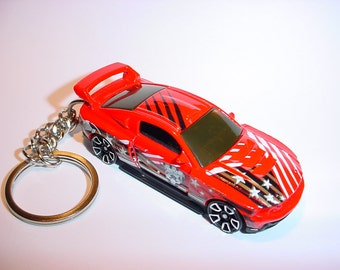 3D 2012 Ford Mustang GT custom keychain by Brian Thornton keyring key chain finished in red/white color trim diecast metal body