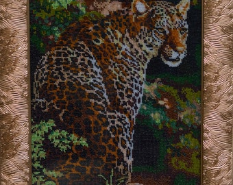 Leopard  Bead Embroidery , Beadpoint, Beading on Needlepoint, Leopard
