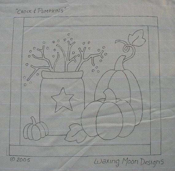 Hand drawn rug hooking pattern crock pumpkins