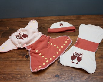Small Hybrid Fitted-Organic silkscreened Cloth Diaper, made with made in the USA fabric
