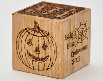 Personalized Baby's First Halloween Block Custom Halloween Home Decor Favors Wedding Wooden Halloween Decorations Halloween Baby Boy Gift +