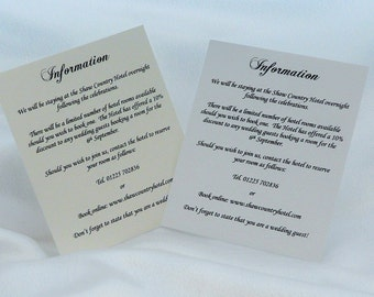 50 Information/Menu/Directions/Hotel Accomodation Cards White or Cream 2 Sizes