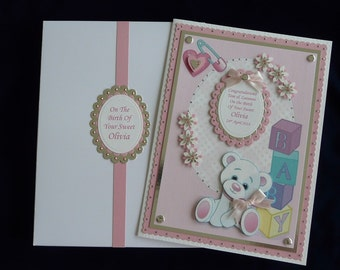 New Baby Card Pink or Blue Large Boxed Personalised Cutomized