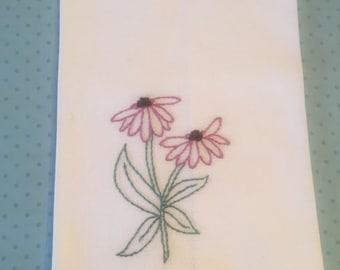 Tea Towel, Original Art, Coneflowers, Hand Embroidered