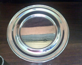 Round Beer Tray Chromed Copper N.Z.