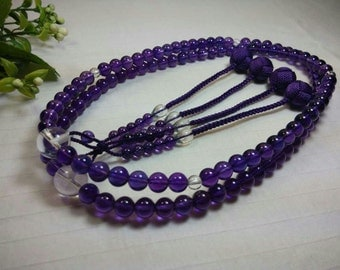 Amethyst  stone nenju craft,juzu prayer beads,Buddhist rosary 108 malas with purple woven balls