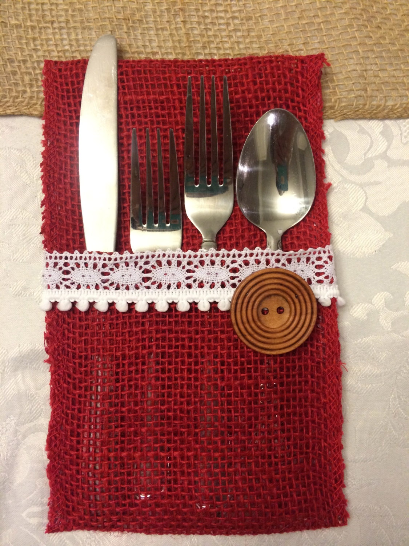Burlap utensil holder christmas colors by bakersbotique on
