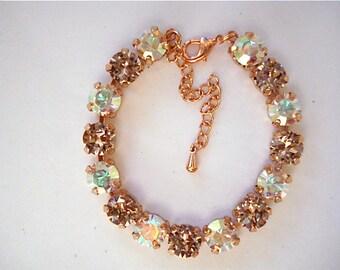 Swarovski Vintage Rose AB Rose Gold Tennis Bracelet, 8mm bracelet, crystal bracelet, bridesmaid bracelet, rose gold bracelet, wedding