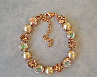 Swarovski Crystal Ivory Pearl Rose Gold Tennis Bracelet, 8mm bracelet, crystal bridesmaid bracelet, vintage rose, blush,PipersCrystalDesigns