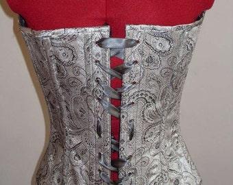 Handmade Victorian-style corset in Silver Brocade