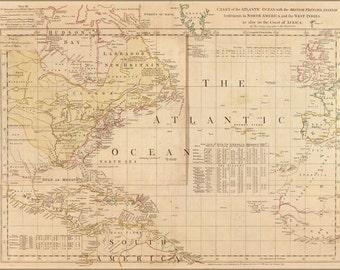 24x36 Poster; Map Of Atlantic Ocean America West Indies 1768