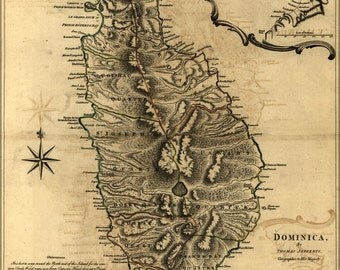 24x36 Poster; Map Of Dominica 1768
