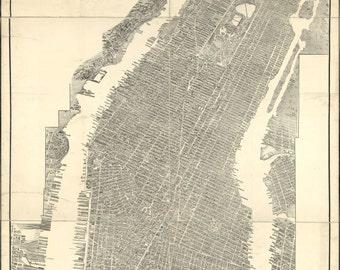 24x36 Poster; Map Of Manhattan New York City 1905