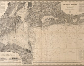 24x36 Poster; Map Of New York Bay And Harbor 1845